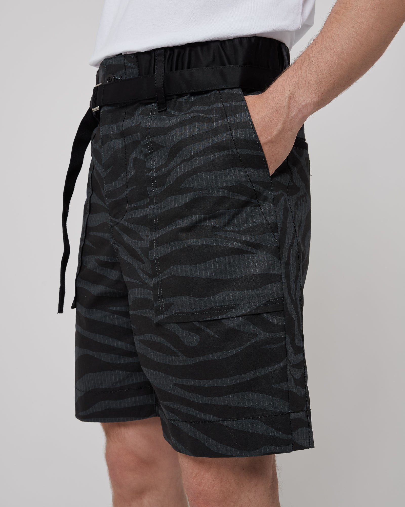 Zebra Print Shorts in Black & Gray