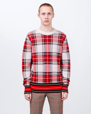 Tartan Sweater in Ecru