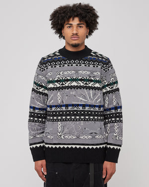 Dr. Woo Bandana Knit Pullover in Gray