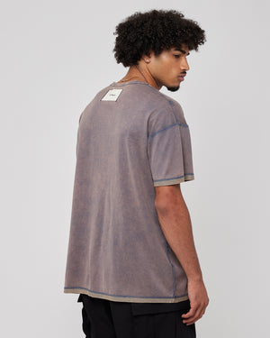 Acid Washed Inside Out T-Shirt in Navy