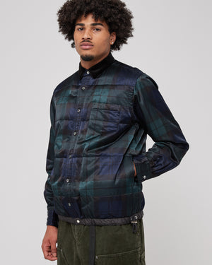 Check Satin Shirt in Black & Green