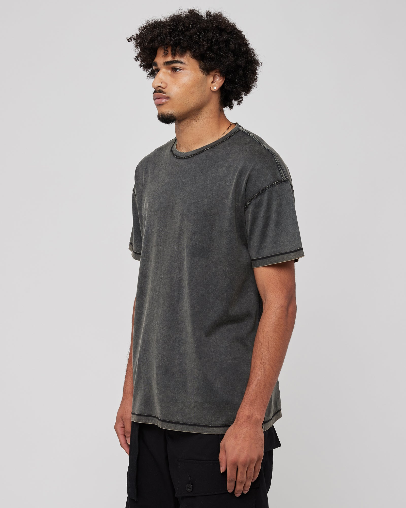 Acid Washed Inside Out T-Shirt in Black