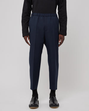 Cropped Wool Pant in Navy