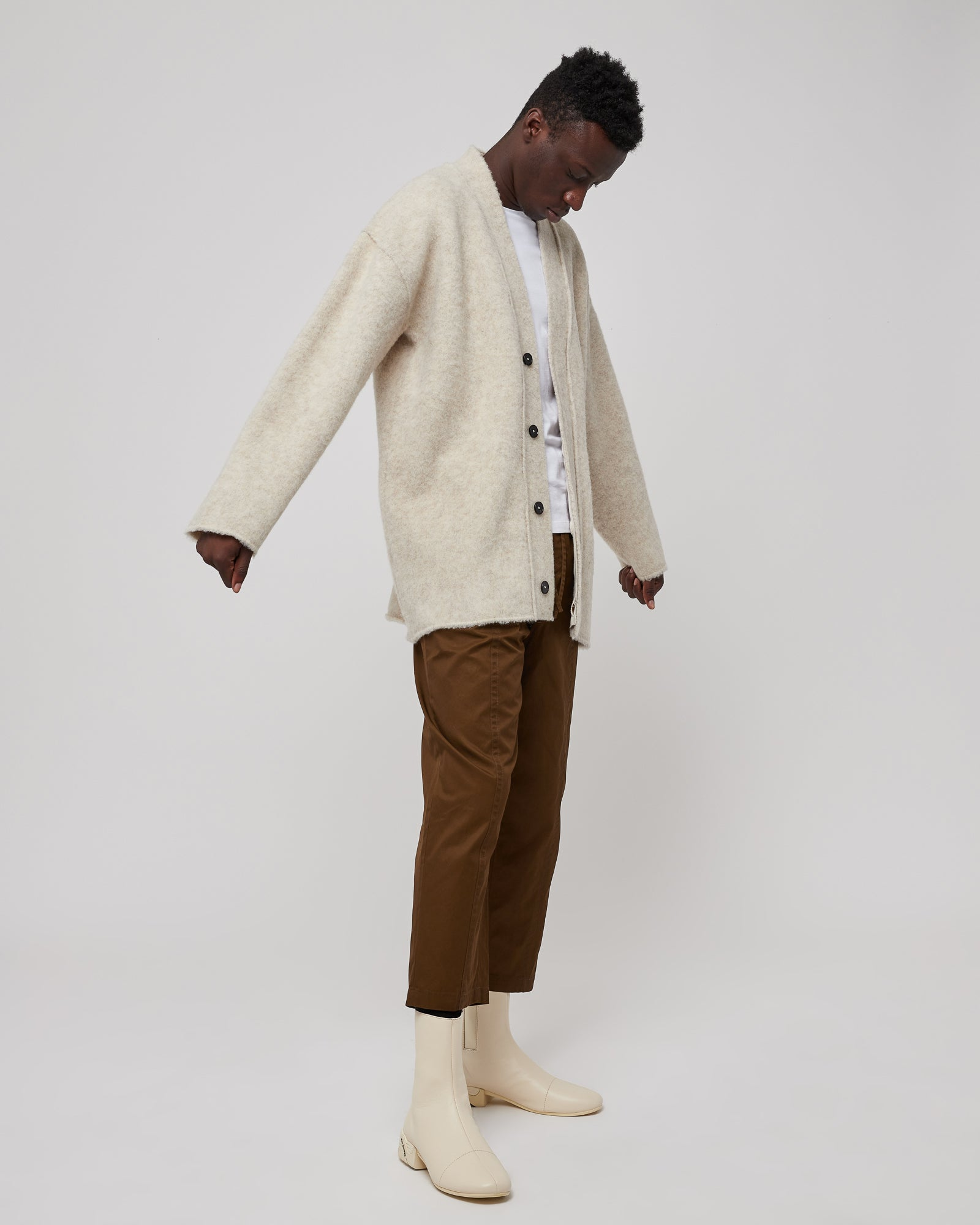 Knit Cardigan in Light Beige