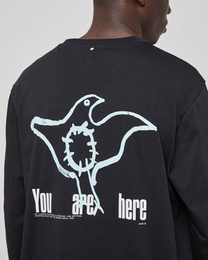 Roden Gray You Are Here L/S T-Shirt in Black