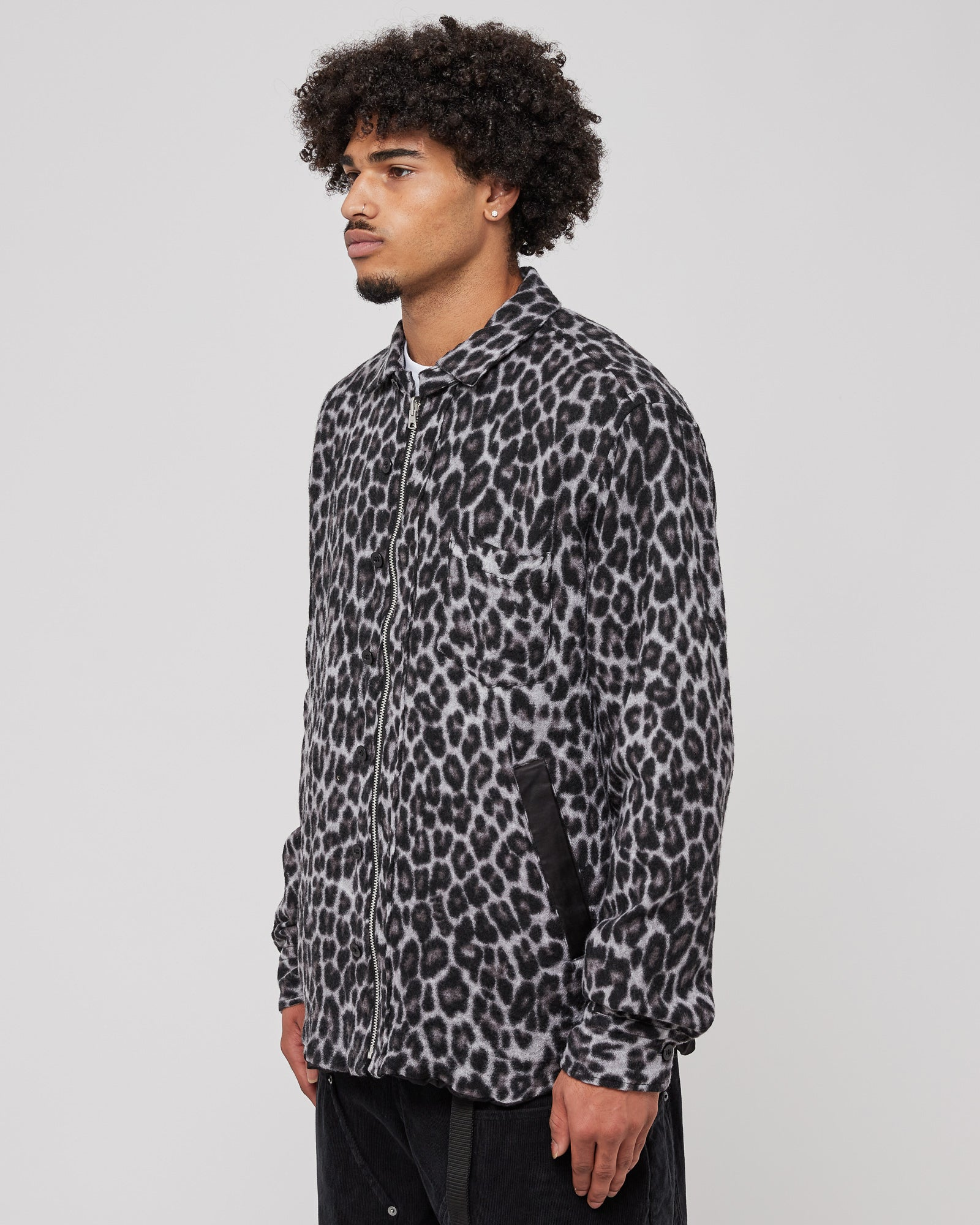 Leopard Shrivel Shirt in Black
