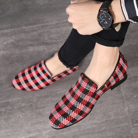 Handmade Plaid Fabric Loafers