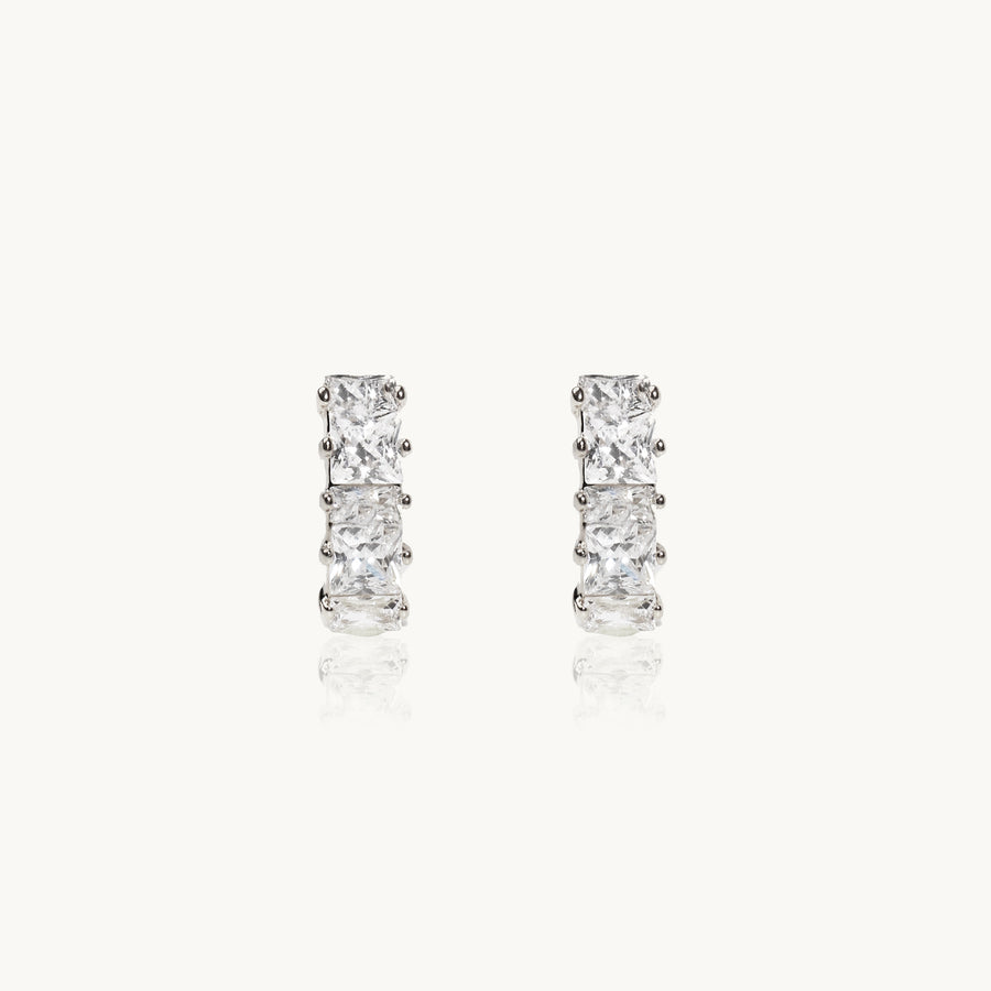 Diamond Pave Earrings (Silver)