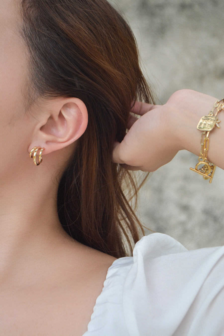 Mini Triple Hoop Earrings (Gold)