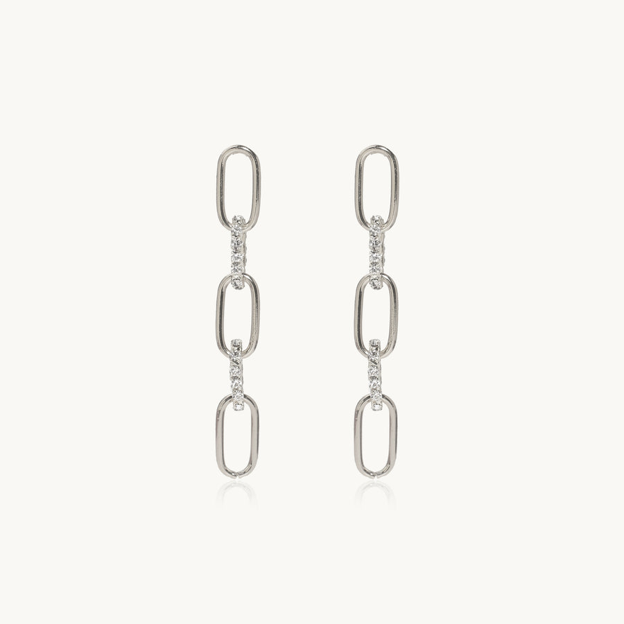 Paperclip Chain Earrings (Silver)