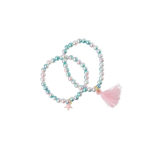 Heart Me Accessories Sets of 2 White, Blue Pearl Charm Bracelets