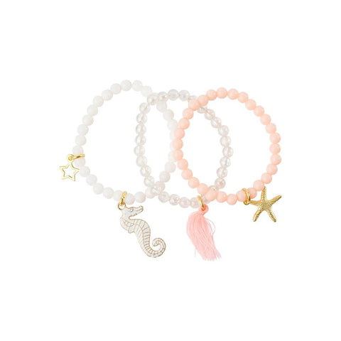 Heart Me Accessories Sets of 3 White, Clear and Pink Seahorse and Starfish Charm Bracelets