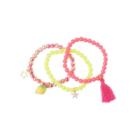Heart Me Accessories Sets of 3 Hot Pink, yellow and Pink Lemon Charm Bracelets