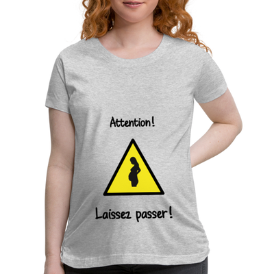 T-Shirt maternité - Attention...Laissez passer! - heather gray