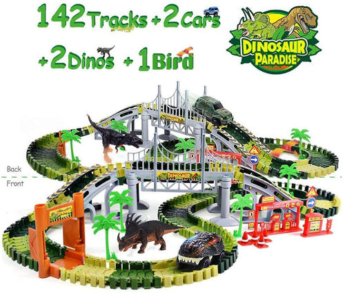 GEEKERA Dinosaur Toys Car 142 Pcs Flexible Race Tracks, New Educational Dinos Train Playset Jurassic World Toy Set for 2 3 4 5 6 7 Year-Old Boys Girls Kids Toddlers Birthday Party Supply Gift