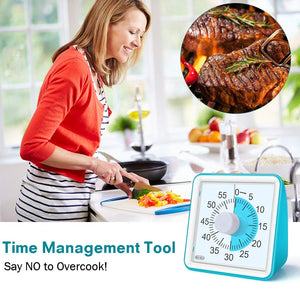 GEEKERA Visual Timer for Kids, Countdown Ticking Clock, 60 Minute Quiet Analog Keeper Timer for School Classroom Teaching Meeting Cooking, Time Management Tool for Children and Adults Gifts