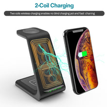Load image into Gallery viewer, Wireless Charging Stand, GEEKERA 3 in 1 Wireless Charger Fast Charging Dock Station for Apple Watch 5 4 3 2 1, Airpods Pro, iPhone 11/11 Pro/X/Xr/Xs/8 Plus, and Qi-Certified Phones(with QC 3.0 Adapter