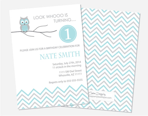 Blue Owl Birthday Invitations