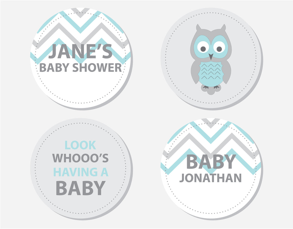 Blue Owl Baby Shower Party Labels