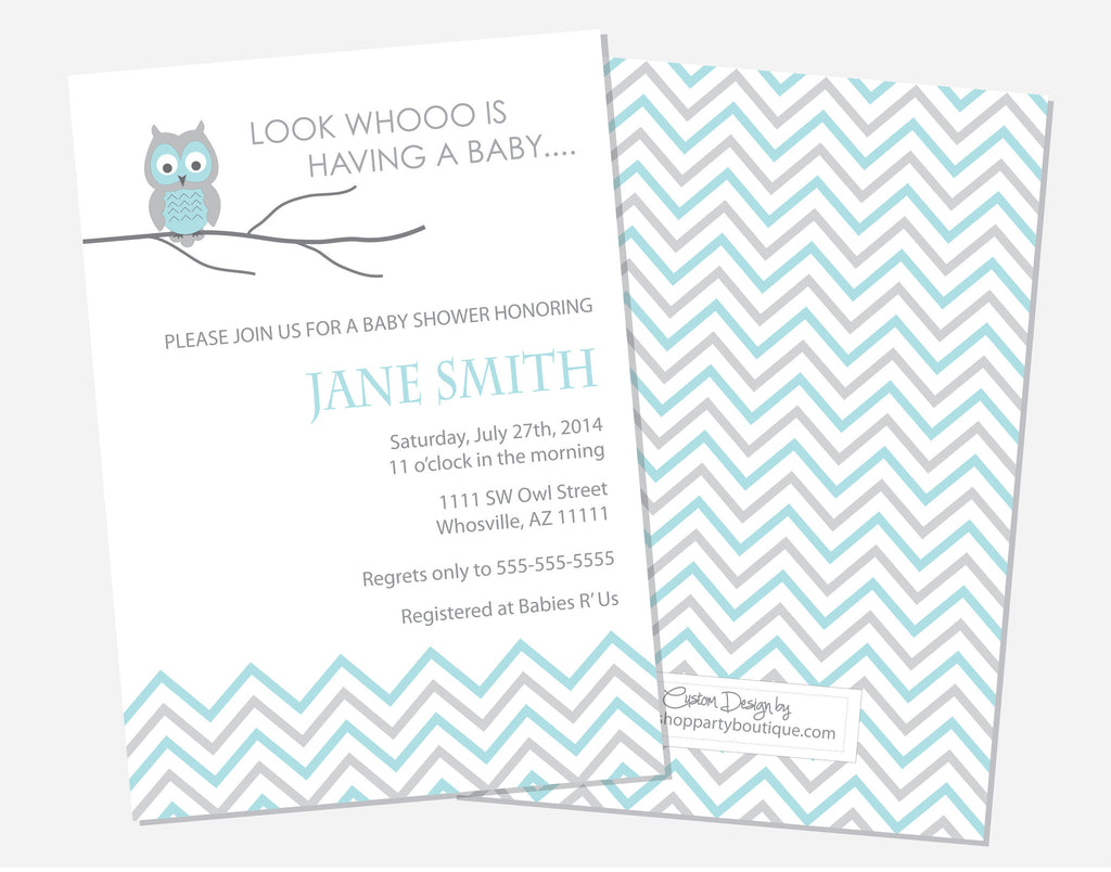 Blue Owl Shower Invitations