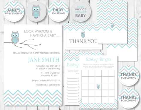 Blue Owl Baby Shower - Stationery Kit
