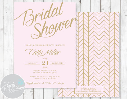 Pink & Gold Bridal Shower Invitation