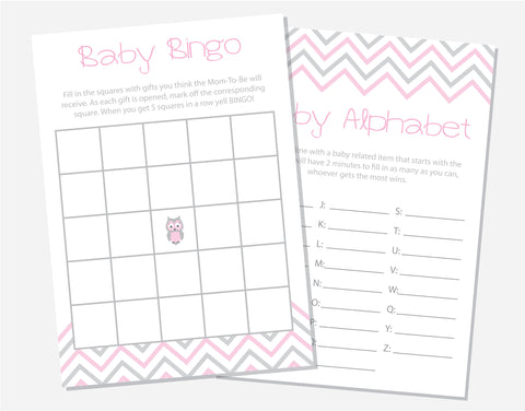 Pink Owl Baby Shower Games