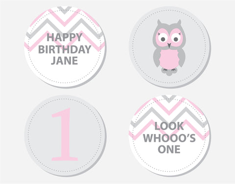 Pink Owl Birthday Party Labels