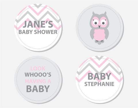 Pink Owl Baby Shower Party Labels