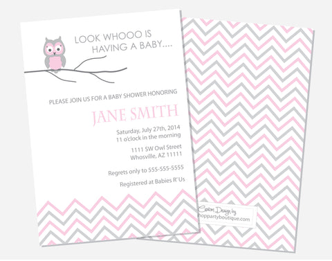Pink Owl Shower Invitations