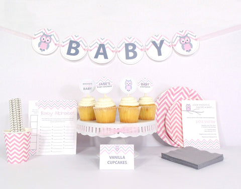 Pink Owl Baby Shower - Essential Kit