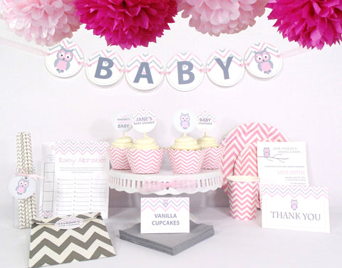Pink Owl Baby Shower - Ultimate Kit