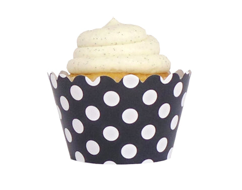 Polka Dot Cupcake Wrappers - Black