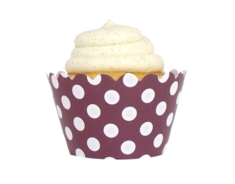 Polka Dot Cupcake Wrappers - Brown