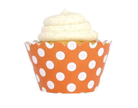 Polka Dot Cupcake Wrappers - Orange