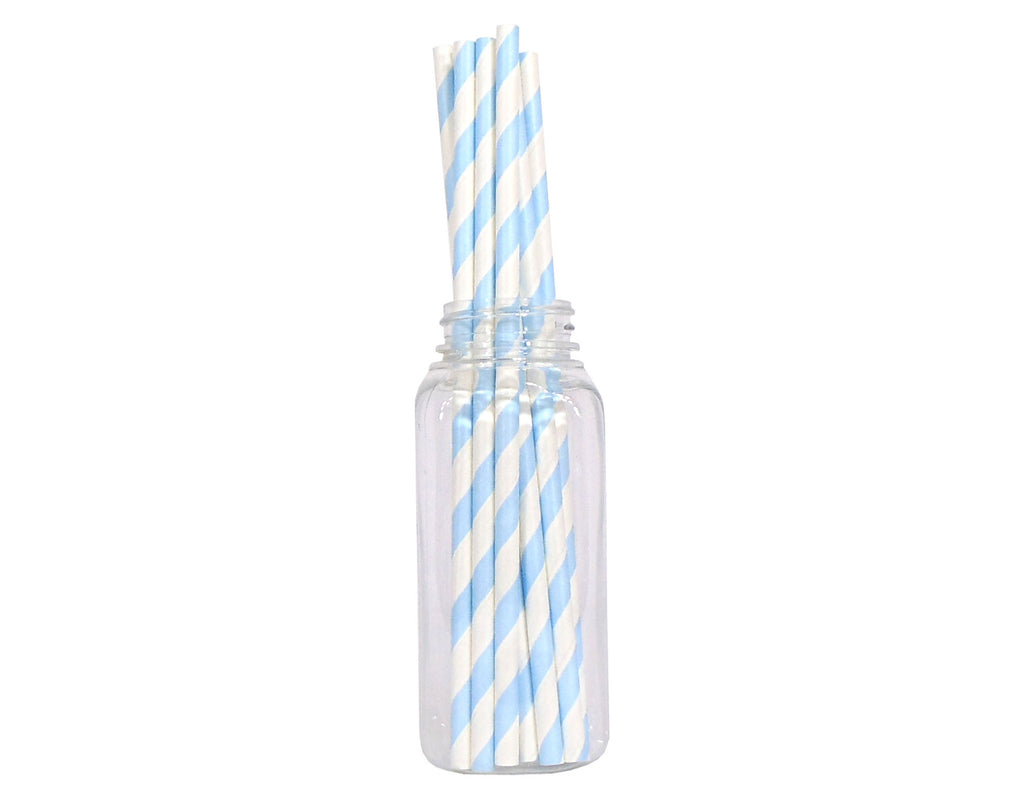 Striped Straws - Light Blue