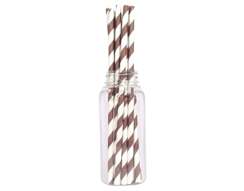 Striped Straws - Brown