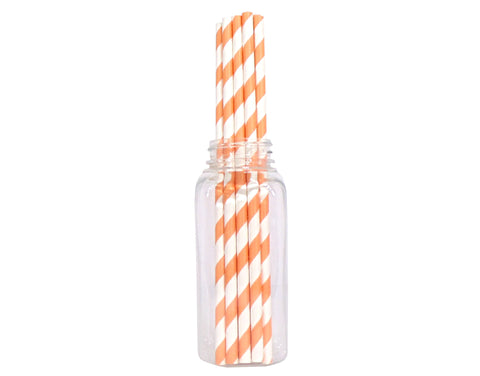 Striped Straws - Orange