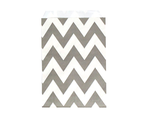 Chevron Favor Bags - Gray