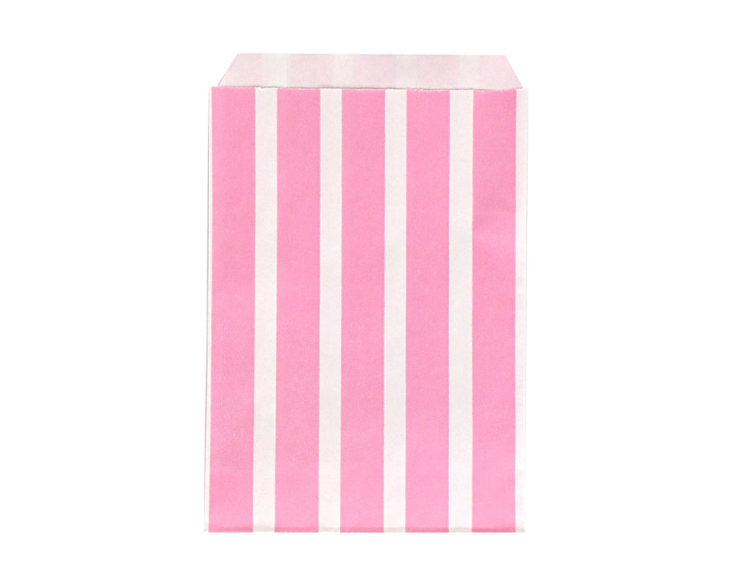 Vertical Stripe Favor Bags - Pink