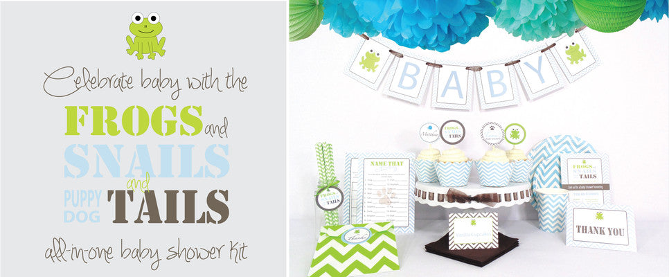 Celebrate baby in style with the frogs, snails and puppy dog tails all-in-one baby shower kit