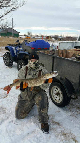 Ice fishing with a portable sonar fish finder