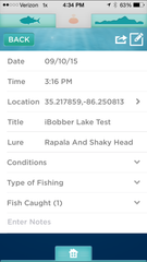 Fishing app for iOS and Android phone and tablet