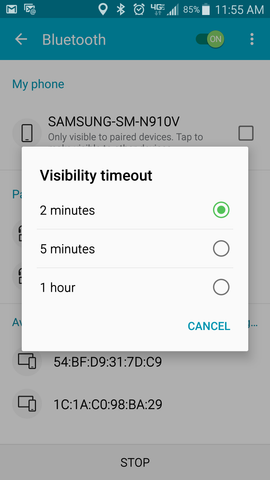 Bluetooth visibility timeout