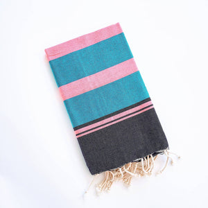 Turkish Beach Towel - Turquoise/Pink