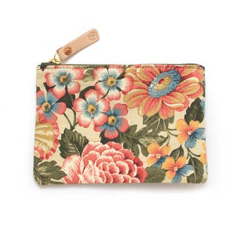 Vintage Cornwall Floral Zipper Pouch