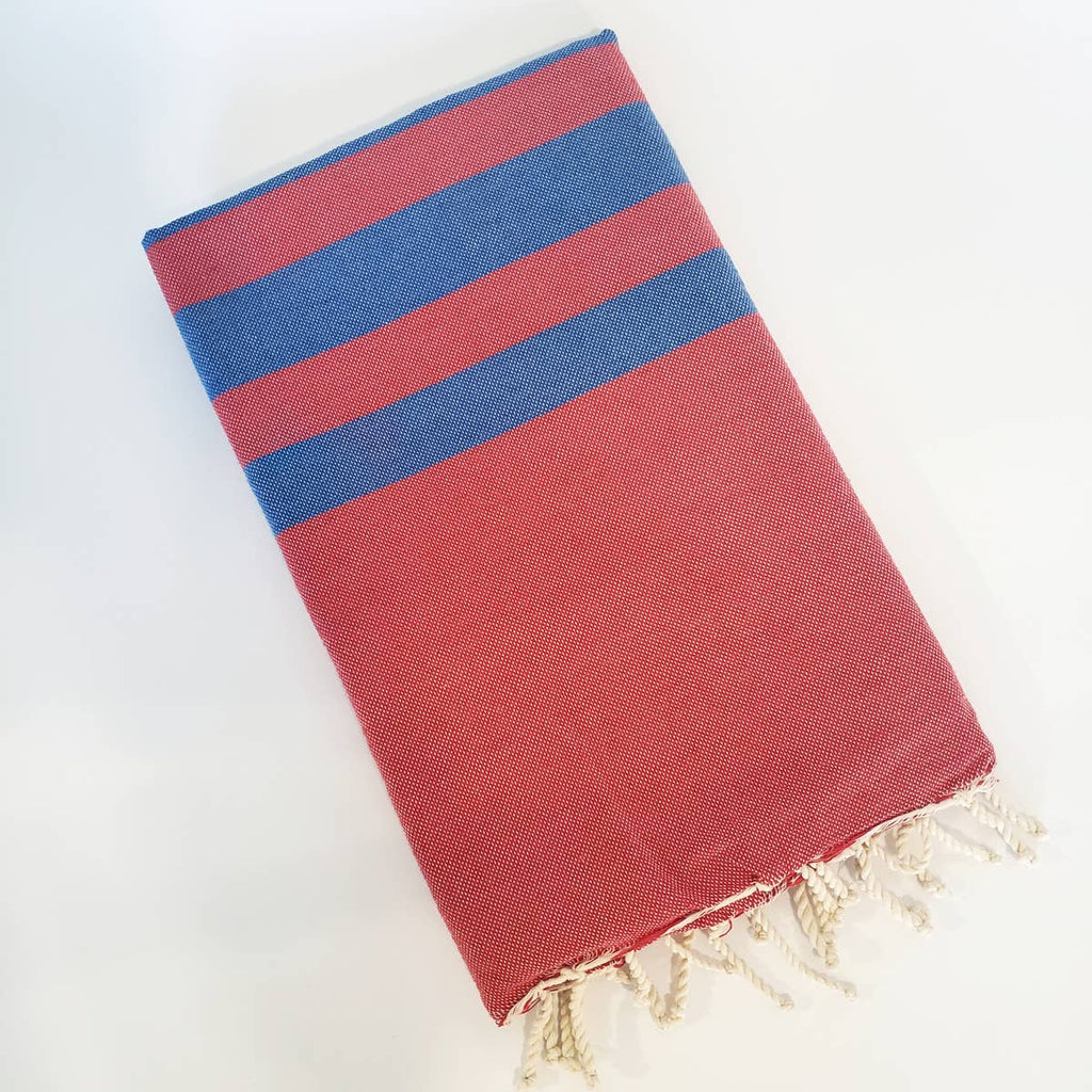 Turkish Beach Towel - Red/King Blue