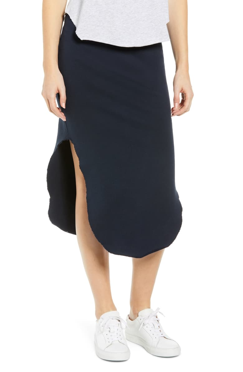 Long Fleece Skirt - Navy