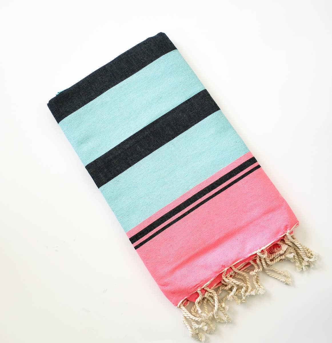 Turkish Beach Towel - Aqua/Pink/Black