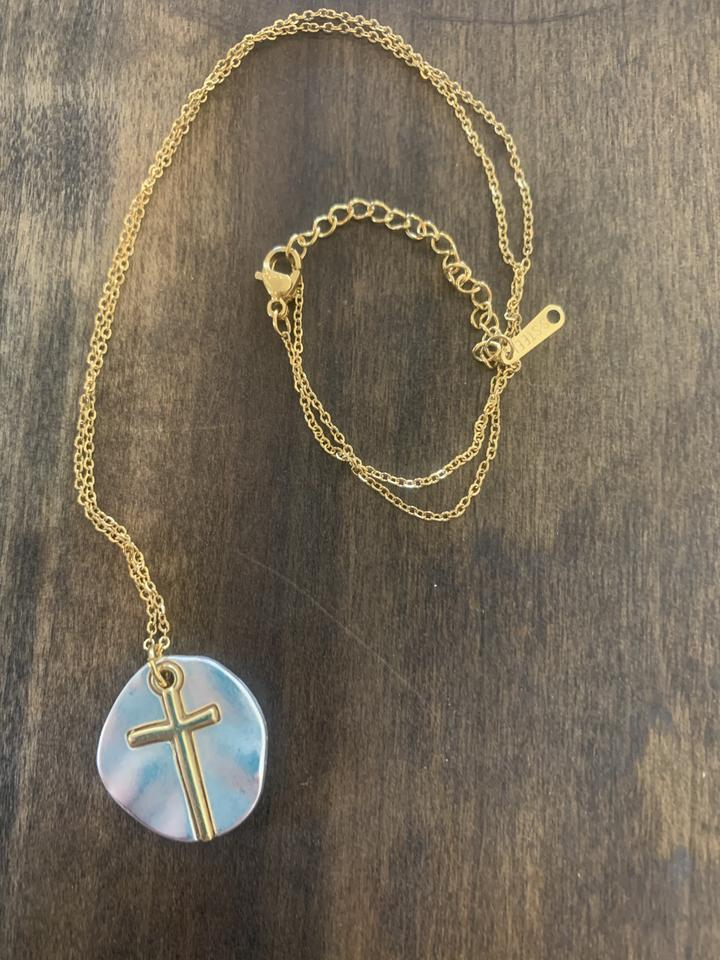 Satin Silver Cross Necklace